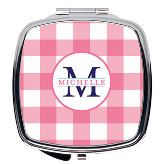 Compact Mirror- Gingham Pink