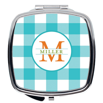 Compact Mirror- Gingham Turquoise