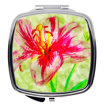 Compact Mirror- Pink Floral Large