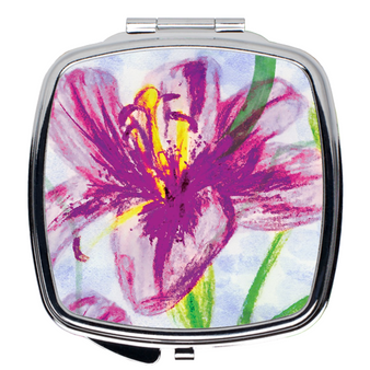 Compact Mirror- Purple Floral Large