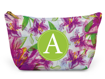 Accessory Zip T-Tote- Purple Floral Pattern