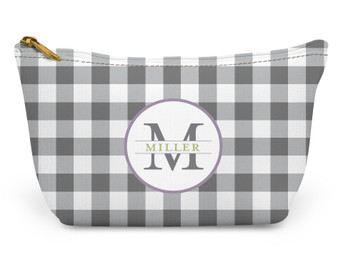 Accessory Zip T-Tote- Gray Gingham