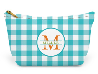 Accessory Zip T-Tote- Turquoise Gingham
