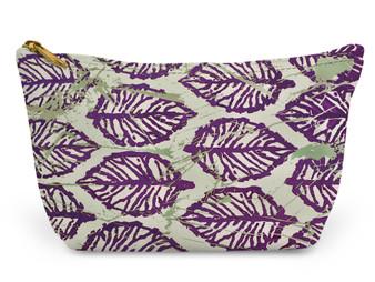 Accessory Zip T-Tote- Purple Leaf