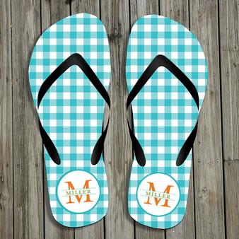 Flip Flops- Turquoise Gingham