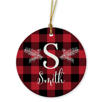 Ornaments - Initial Red Plaid