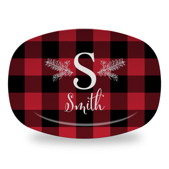 Microwavable Platter - Initial Red Plaid