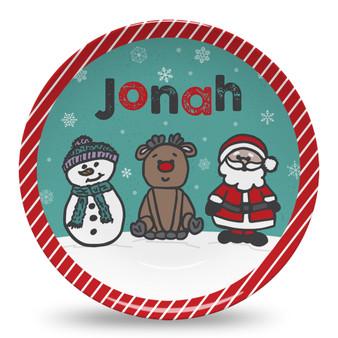 Microwave Safe Dinnerware Plate - Frosty Rudolph Santa