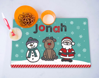 Placemat- Frosty Rudolph Santa