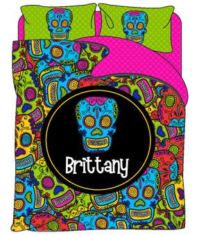 Custom Bedding - Comic Sugar Skulls