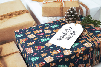 Wrapping Paper and Labels - Gingerbread Delight Navy