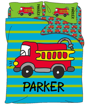 Custom Bedding - Firetruck