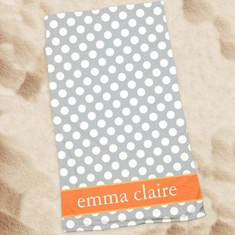 Beach Towel-Grey Dots