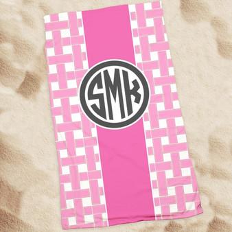 Beach Towel-Pink Thatch