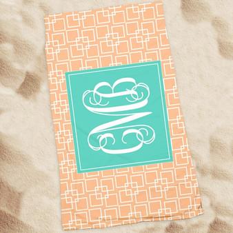 Beach Towel-Peach Squares