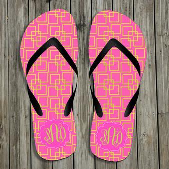 Flip Flops-Pink Squares