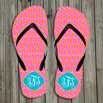 Flip Flops-Orange Pink Links
