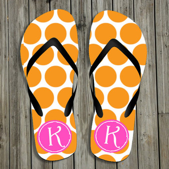 Flip Flops-Orange Polka Dots