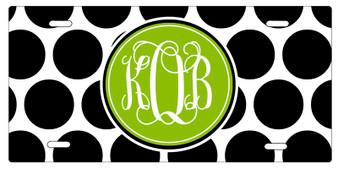 License Plate - BW Polka Dot