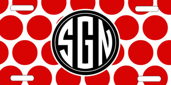 License Plate - Polka Dot Red and Black