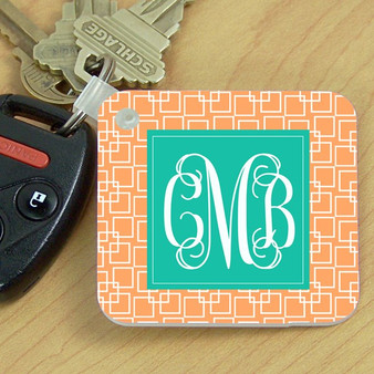 Key Chain- Peach Squares