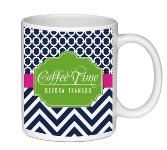 Coffee Mug-Navy Circles and Chevron