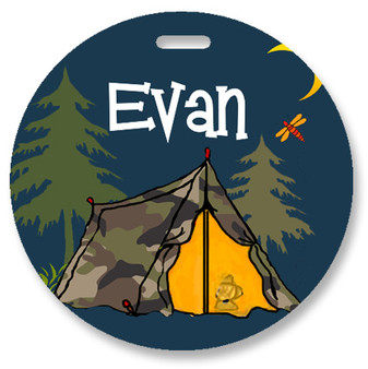Round Luggage Tag-Camp Life Tent
