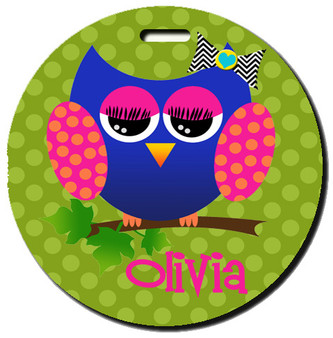 Round Luggage Tag-Allie the Owl