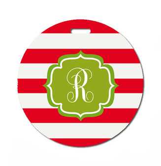 Round Luggage Tag-Holiday Stripes