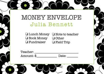 Money Envelopes - Black Lime Floral