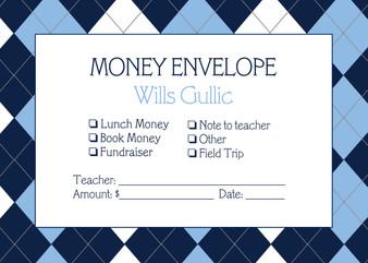 Money Envelopes - Blue Argyle