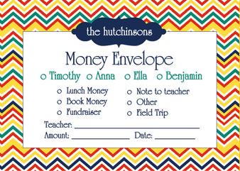 Money Envelopes - Cape Cod Poppy-Chevron