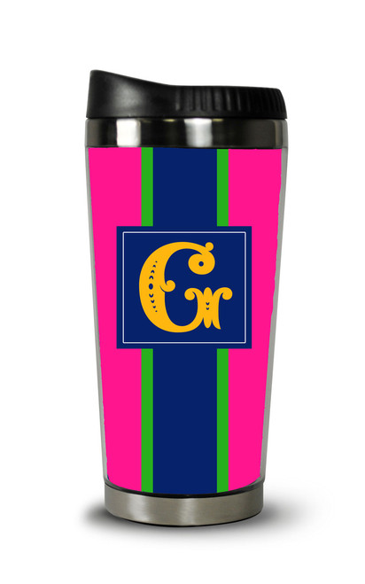 Personalized Travel Tumbler- Pink Rugby Stripe