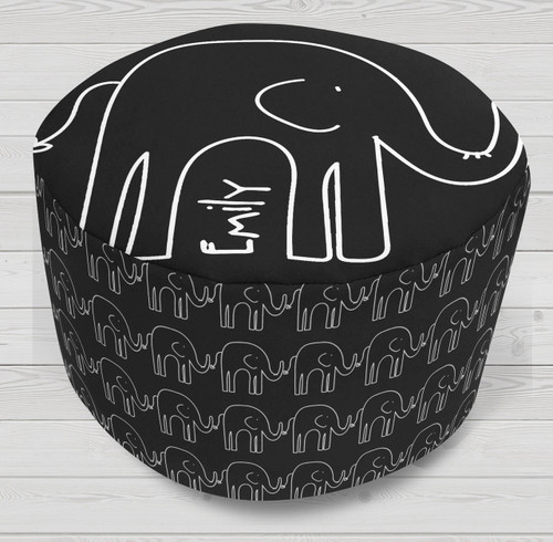 Ottoman-Round-Black Elephants