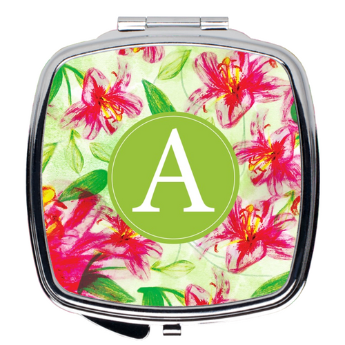 Compact Mirror- Pink Floral Pattern