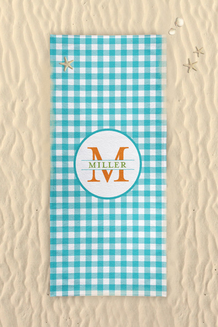 Beach Towel-Turquoise Gingham