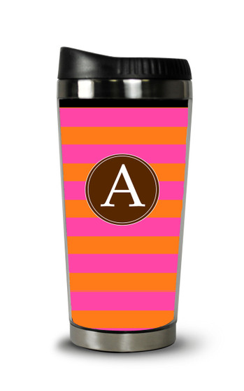 Personalized Travel Tumbler-Hot Pink and Rugby Stripe