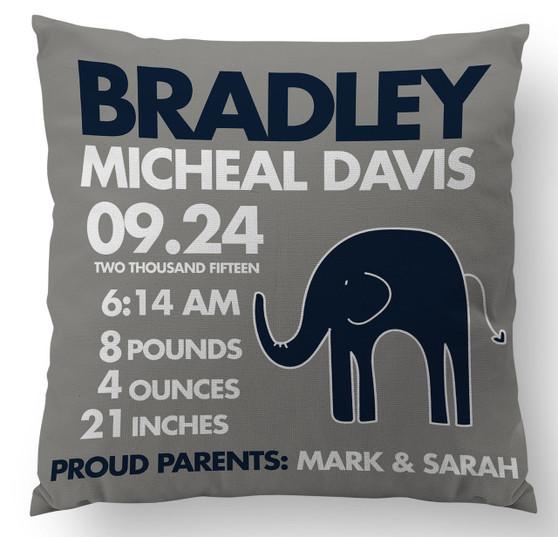 Pillow-Birth Announcement-Gray Navy Elephant