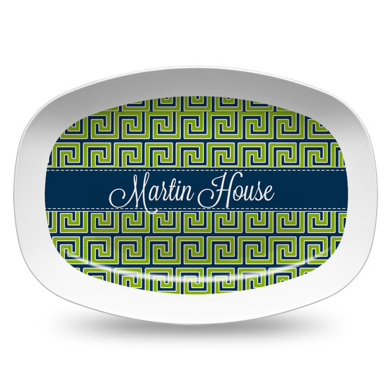 Microwavable Platter- Navy and Pea Greek Key