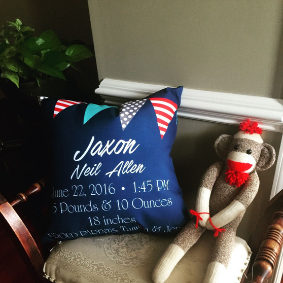 Pillow-Birth Announcement-Banner Gray and Red