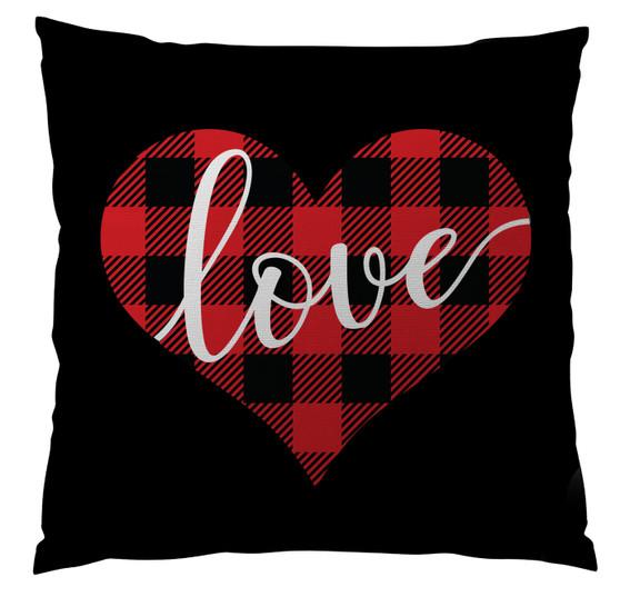 Pillows - Buffalo Plaid Heart Black
