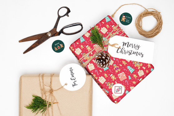 Wrapping Paper and Labels - Gingerbread Delight Red
