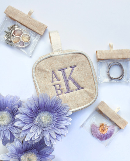 Linen Jewelry Case with Embroidery
