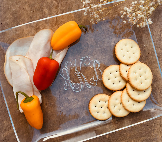 Acrylic Appetizer Tray with Monogram