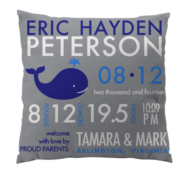 Pillow-Birth Announcement-Whale Gray