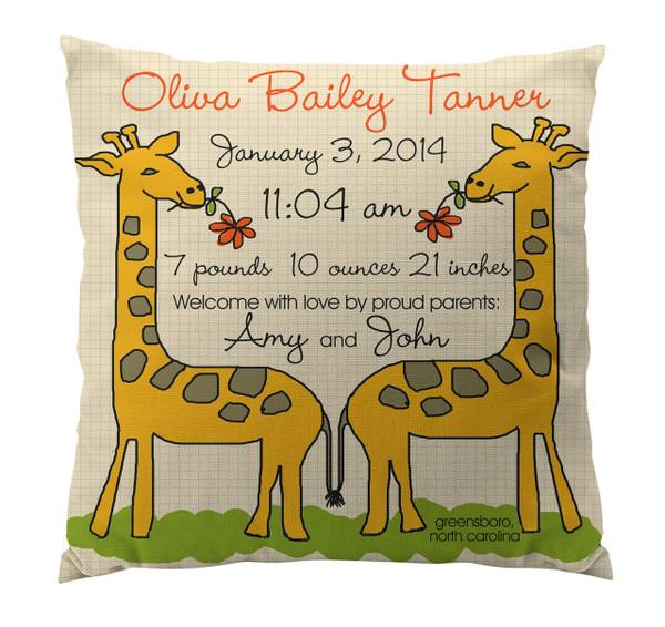 Pillow-Birth Announcement-Giraffe