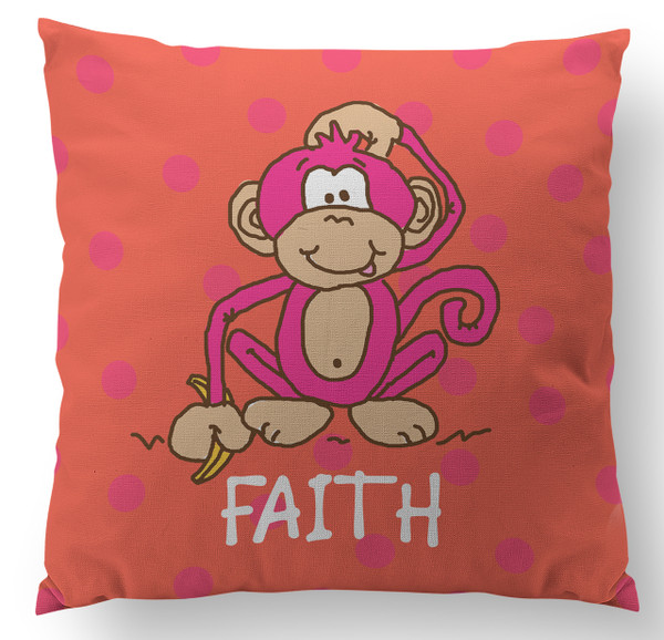 Pillow-Hot Pink Monkey