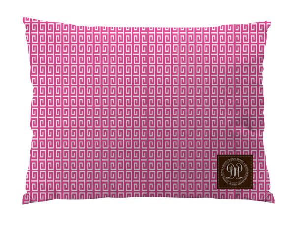 Dog Bed -JP-Pink Greek Key Slim