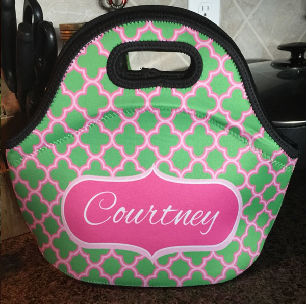 Lunch Tote- Pink and Green Clover