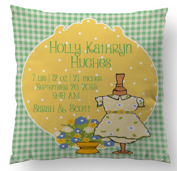 Pillow-Birth Announcement-Prissy Pot